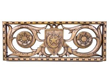 c. 1928 heavy ornamental cast bronze medinah athletic club exterior pierced grille – walter w. ahlschlager, architect