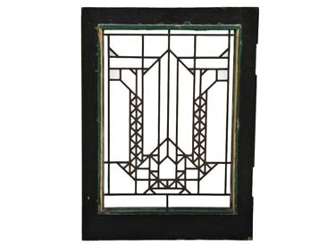 c. 1913 original and intact frank lloyd wright-designed francis w. little house leaded art glass window with copper-coated zinc caning