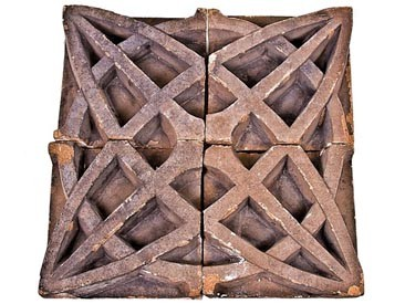 "19th century schiller theater (later known as the garrick) building sectional terra cotta slip glaze ""geometric flower"" border panel"