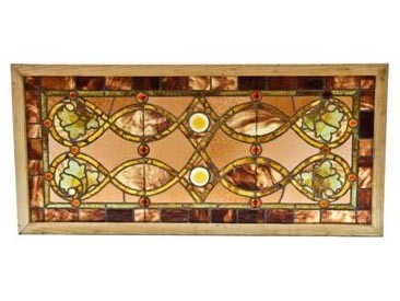 late 19th century leaded art glass window attributed to louis h. sullivan for the auditorium building