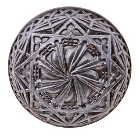 late 19th century remarkably detailed original ornamental cast iron prudential or guaranty building interior office doorknob with intact bower-barff finish – yale & towne mfg. co., new britain, ct.