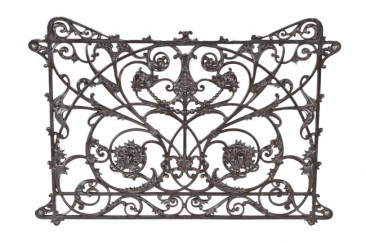 c. 1891-92 original american ornamental cast iron mecca apartment interior atrium balcony railing baluster panel – willoughby j. edbrooke & franklin p. burnham, architects