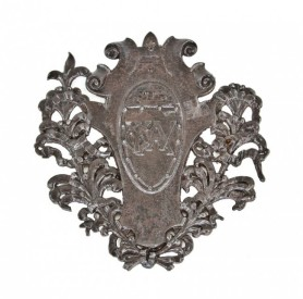 19th century american ornamental cast iron monogrammed ywca hotel interior elevator door single-sided flush mount plaque – john m. van osdel ii, architect