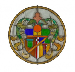 c. 1927 vibrantly colored american exterior lawndale theater facade stained glass medallion – willam p. whitney, architect