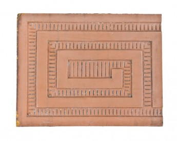 19th century american antique y.w.c.a. building exterior salmon-colored glazed terra cotta panel with meander or greek fret design	– northwestern terra cotta company, chicago, il.