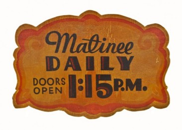 "c. 1936 lawndale theater polychromatic ""matinee daily"" single-sided masonite marquee board – william p. whitney, architect"
