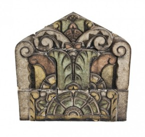"art deco style richman brothers exterior polychrome enameled centrally located terra cotta cornice panel – formerly apart of the ""bee hive"" dry goods store"