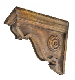 c. 1855 historically important exterior residential oversized john kent russell residence yellow pine wood eave bracket or corbel constructed with square nails – j. k. russell & co., chicago, il.
