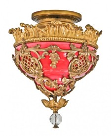 ornamental gilded omolu cast bronze interior uptown theater single electric pendant light with richly colored cased glass shade – victor s. pearlman & company, chicago, il.