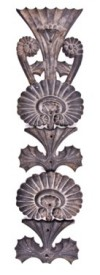 19th century ornametnal sectional cast iron exterior rosenfeld building facade single-sided pilaster ornament- sullivan & adler designed levi rosenfeld building