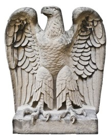 bunte candy factory administration office tower hand carved c. 1919 spread-winged solid limestone exterior facade eagle	- chicago-based architectural firm of schimdt, garden & martin