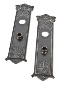 early 1890′s interior ornamental cast iron union trust building commercial door louis h. sullivan-designed backplates or escutcheons – yale & towne mfg. co., stamford, ct.