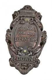 copper-plated early 20th century ornamental cast iron hotel sherman (demolished) wall-mount elevator push button call box – holabird & roche, architects