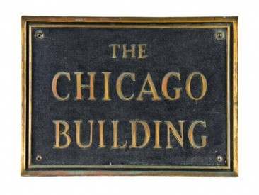 early 20th century all original oversized single-sided nicely aged cast bronze chicago building exterior facade sign plaque with raised fanciful lettering – holabird & roche, architects