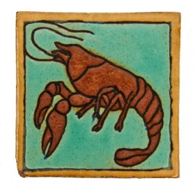 "late 1920′s original brightly colored lakeshore drive athletic club nautical-themed ""lobster"" interior pool room wall-mount tile with monogrammed back	- mosaic tile company, zanesville, oh."