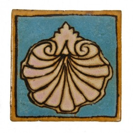 "late 1920′s original and intact polychromatic lakeshore drive athletic club glazed red clay interior pool room figural ""clam shell"" wall tile – mosaic tile company, zanesville, oh."