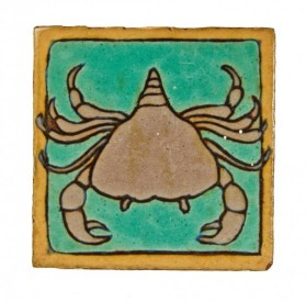 "c. 1920′s chicago lakeshore drive athletic club baked enameled red clay ""crab"" wall-mount interior pool room tile – mosaic tile company, zanesville, oh."
