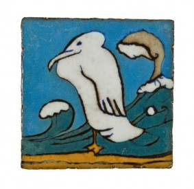 "c. 1927 original documented wall-mount interior lakeshore drive athletic club pool room wall-mount ""pelican"" figural tile with baked enameled finish – mosaic tile company, zanesville, oh."