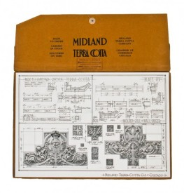 "early 20th century single-sided midland terra cotta ""plate 77″ lithographed cardstock ""sullivanesque"" style stock terra cotta informational diagram – midland terra cotta co., chicago, il."