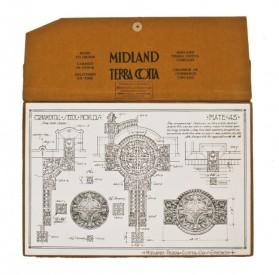 "early 20th century original ""sullivanesque"" midland terra cotta ""plate 45″ lithographed cardstock diagram of a sectional white glazed medallion	- midland terra cotta co., chicago, il."
