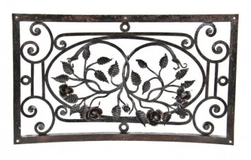 19th century fred. w. morgan custom-built interior residential black enameled wrought iron wall-mount furnace air intake grille – f.p. smith wire & iron works, chicago, il.
