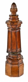c. 1880's hand carved solid walnut octagonal-shaped staircase landing newel post with pineapple finial from the joseph t. ryerson mansion- burling and adler, architects