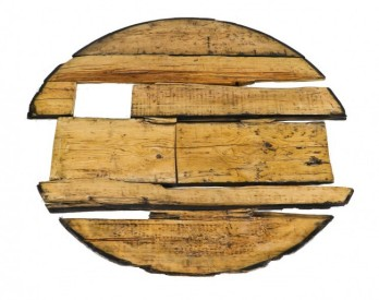 """c. 1855-60 pine wood circular """"privy vault"""" floor with tongue and groove joints and tapered edges from the john kent russell house- j. k. russell & co., chicago, il."""