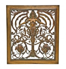 original historically important early 20th century highly ornamented cast bronze interior grand central terminal wall-mount air ventilation grille or cover– warren & wetmore, architects