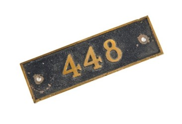 "single-sided early 20th century wall-mount american cast bronze michael reese hospital ""old main"" room number plaque with black enameled inlay	– union equipment & bronze co., new york city, ny."