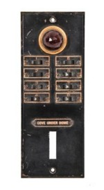 c. 1927 lawndale theater backstage lighting control panel with ruby red faceted glass jewel– william p. whitney for the design firm of r. levine co.