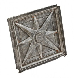 early 1920's double-sided ornamental cast iron division street sidewalk railing baluster panel with geometric 8-pointed compass rose motif- roemheld & gallery, bridge builders, chicago, il.
