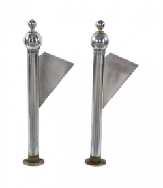 c. 1920's art deco style bunte candy factory building nickel-plated interior lobby bronze metal staircase newel posts with ball finials	– schmidt, garden & martin, architects