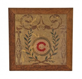 c. 1892-93 chicago athletic association building polychrome stenciled fragment with allover crazed finish – healy & millet, interior decorators, chicago, il.