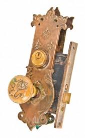 c. 1893 chicago world's fair-era cast bronze columbus memorial building interior passage door hardware – yale & towne mfg. co., stamford, ct.