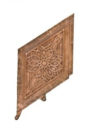 "19th century single-sided john root-designed rookery building ""wainscot"" copper-plated iron staircase panel – hecla iron works of brooklyn, new york"