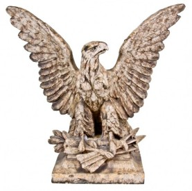 c. 1917 figural white glazed terra cotta spread-winged eagle perched on arrows – midland terra cotta co., chicago, il.