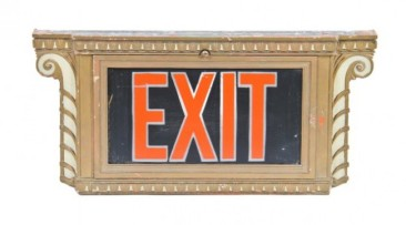 original c. 1930's chicago civic opera house auditorium interior illuminated art deco style exit sign with reverse-painted glass inset – graham, anderson, probst and white
