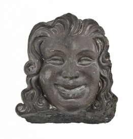 """rare late 1920's american baked black glazed figural terra cotta dupage theater exterior facade """"comedy"""" head or mask fragment with flowing hair – rudolph g. wolff, architect"""