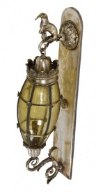 exceptionally rare c. 1920's interior wall-mount silver-plated brass art glass farcroft building lobby sconce– charles wheeler nicol, architect