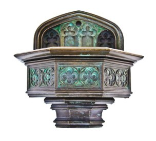 late 19th or early 20th century patinated ornamental cast bronze gothic style university of chicago cobb hall wall-mount drinking fountain – winslow brothers, chicago, il.