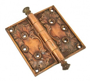 19th century unrestored copper-plated cast bronze columbus memorial building interior office door hinge with distinctive finials – yale & towne mfg. co., stamford, ct.