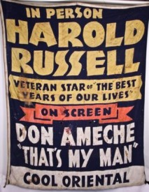 massive c. 1947 vintage downtown chicago theater stitched cloth playbill banner– oriental theater, chicago