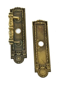 early 20th century cast brass chicago city hall emblematic door handle and push plate set featuring detailed chicago city seals – sargent hardware company, new haven, ct.