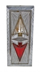"""c. 1933 stunning art deco """"jazz age"""" interior chrome-plated cast bronze elevator cincinnati times-star building elevator up/down directional indicator – architectural firm of samuel hannaford & sons"""