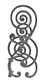 late 19th century ornamental cast iron kansas city board of trade building staircase baluster with highly stylized tendril motif– burnham & root, architects