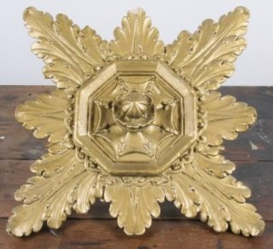 c. 1924 interior lobby deep relief cast plaster ceiling rosette ornament	– lakeshore drive athletic club
