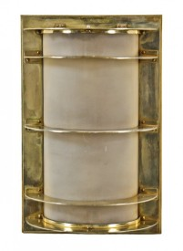 oversized flush mount art deco streamlined chicago board of trade building lobby illuminated polished brass wall sconce with cylindrical frosted glass shade– holabird & root, architects