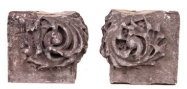 pair of richly ornate late 19th century dana hotel carved limestone endcaps– patton and fisher, architects