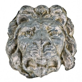 early 20th century stamped zinc metal lion head from the stoddard hotel building facade, cornice fragment with traces of original white paint finish– j. k. cady, building architect