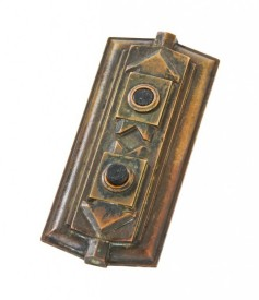 late 1920's american art deco style cast bronze los angeles stock exchange building interior elevator car push button backplate – samuel lunden, architect